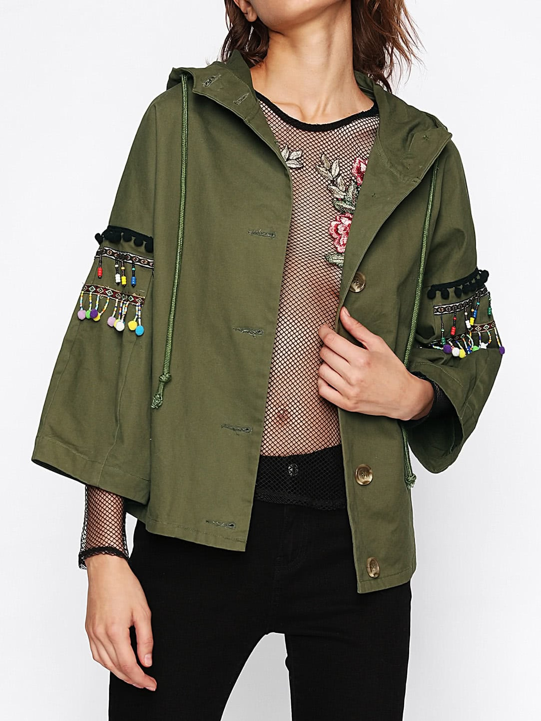 Pom Pom And Beading Fringe Detail Hooded Jacket pom pom detail cami and shorts set