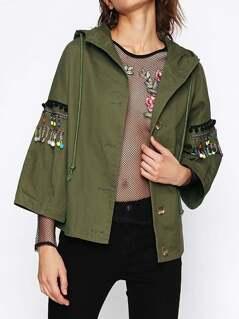 Pom Pom And Beading Fringe Detail Hooded Jacket