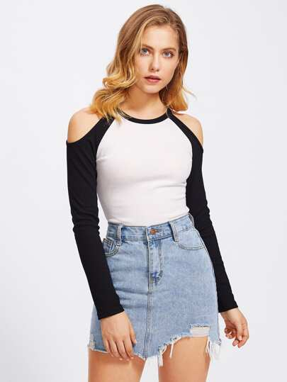 Open Shoulder Contrast Raglan Sleeve Tee