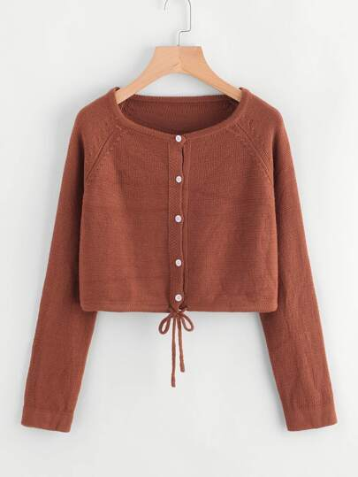 Self Tie Hem Button Front Crop Sweater