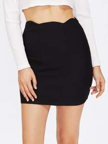 Scallop Waist Bodycon Skirt