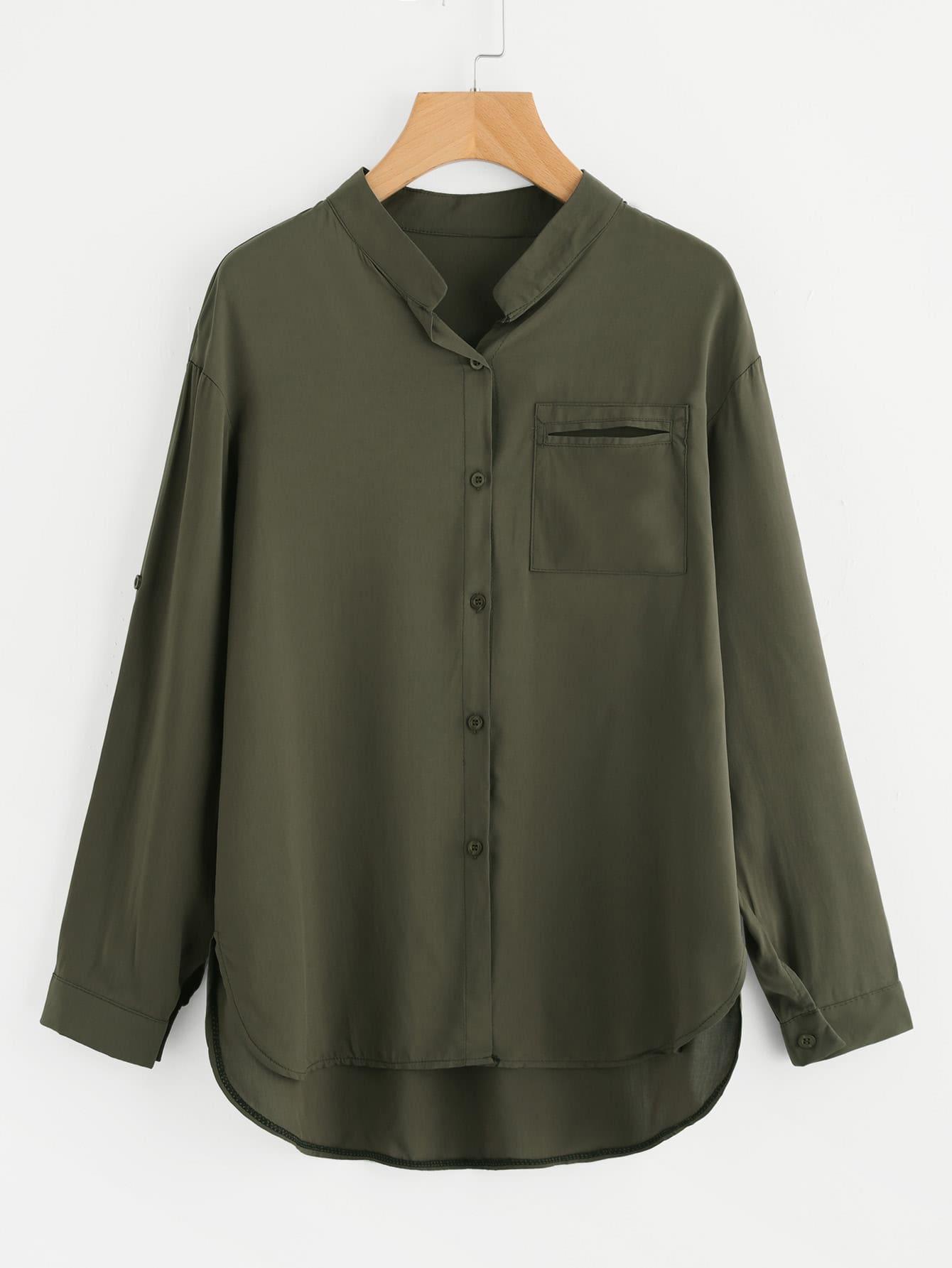 Roll Tab Sleeve High Low Shirt stoosh new salmon juniors roll tab sleeve plaid shirt s $34 dbfl