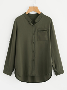 Roll Tab Sleeve High Low Shirt