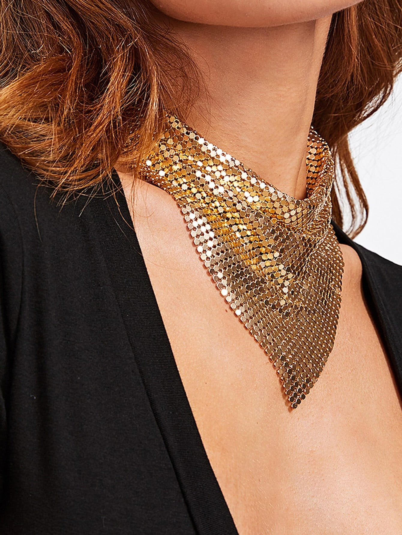 Sequin Overlay Triangle Design Necklace