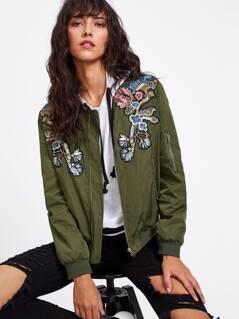 Symmetrical Embroidery Patch Zipper Detail Bomber Jacket