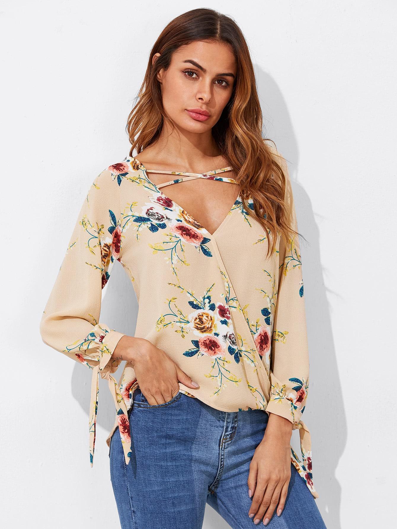 Crisscross Tie Detail Tropical Print Surplice Blouse crisscross surplice neckline tie detail tropical print blouse