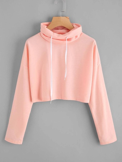 High Neck Drawstring Crop Sweatshirt