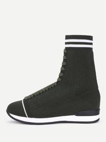 Striped Trim Knit Sneaker Boots