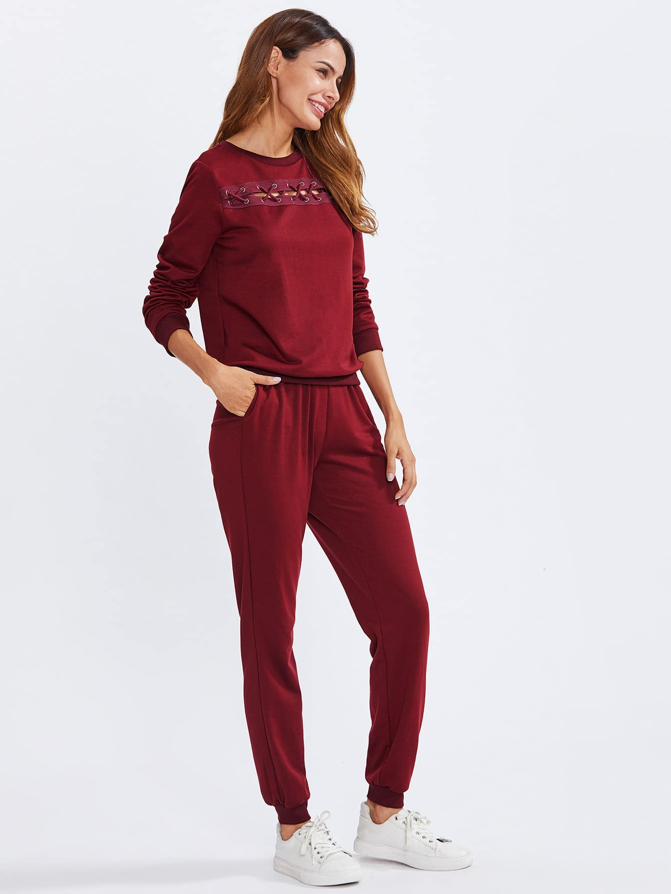 Eyelet Crisscross Detail Pullover And Sweatpants Set pearl and layered lace detail pullover