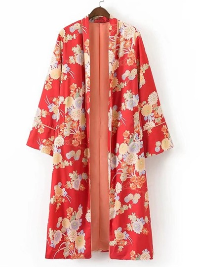 Kimono largo con estampado de calicó