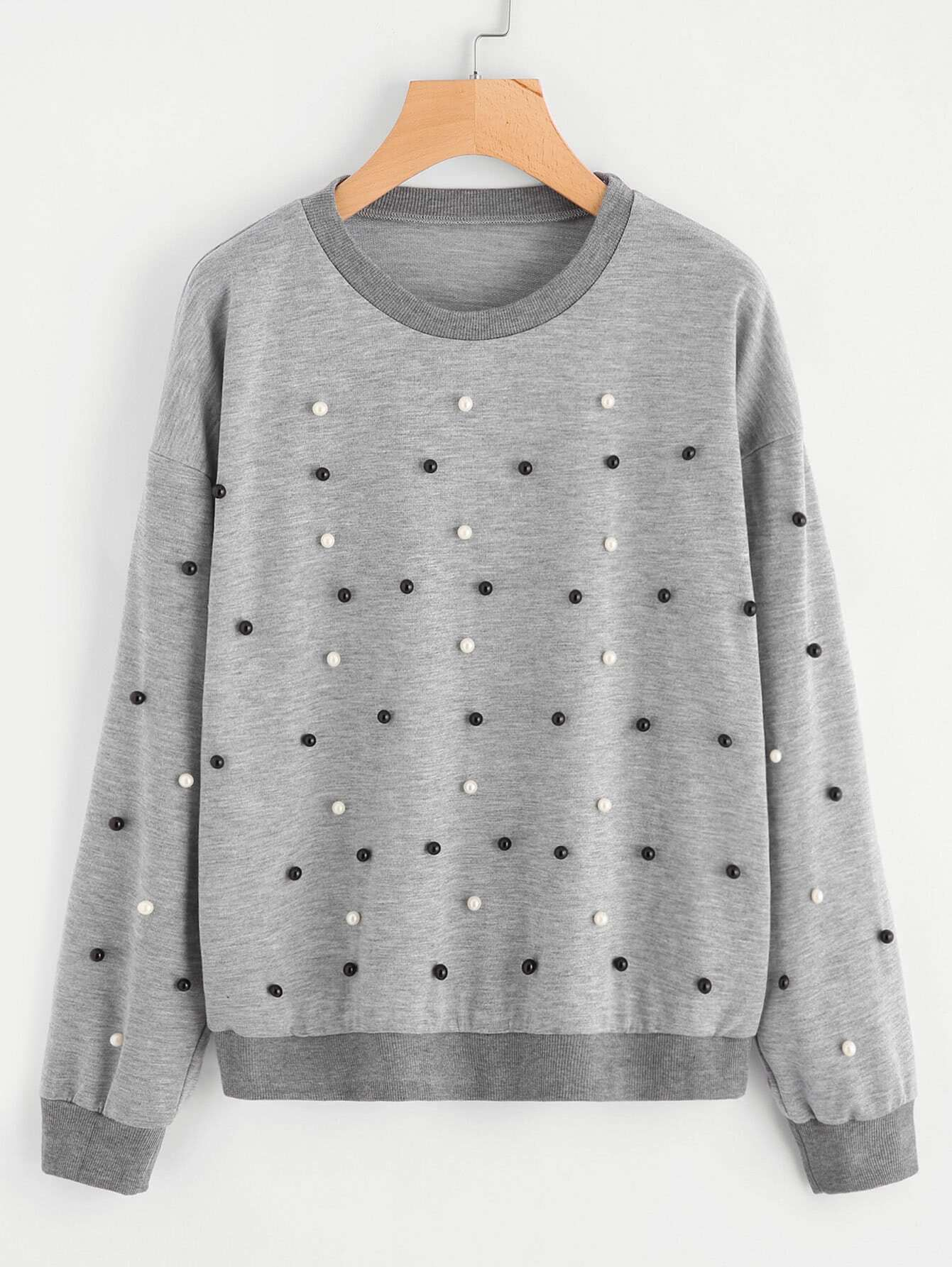 Drop Shoulder Pearl Beading Sweatshirt drop shoulder frill hem batwing sweatshirt