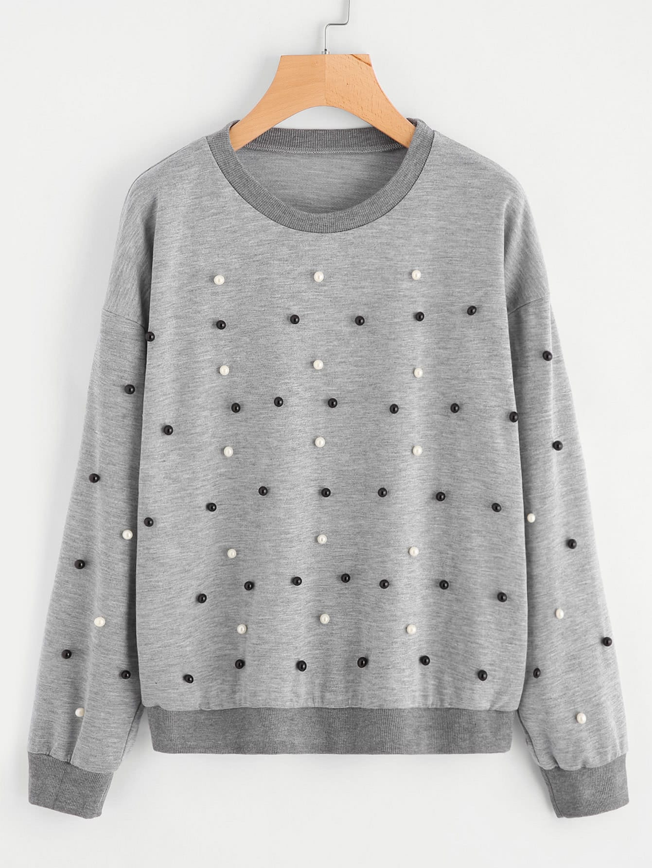 Drop Shoulder Pearl Beading Sweatshirt hooded drop shoulder patch sweatshirt
