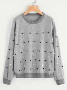Drop Shoulder Pearl Beading Sweatshirt
