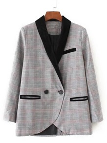 Contrast Shawl Collar Plaid Blazer