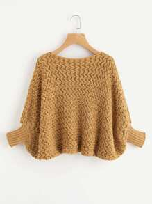 Batwing Textured Chunky Knit Sweater