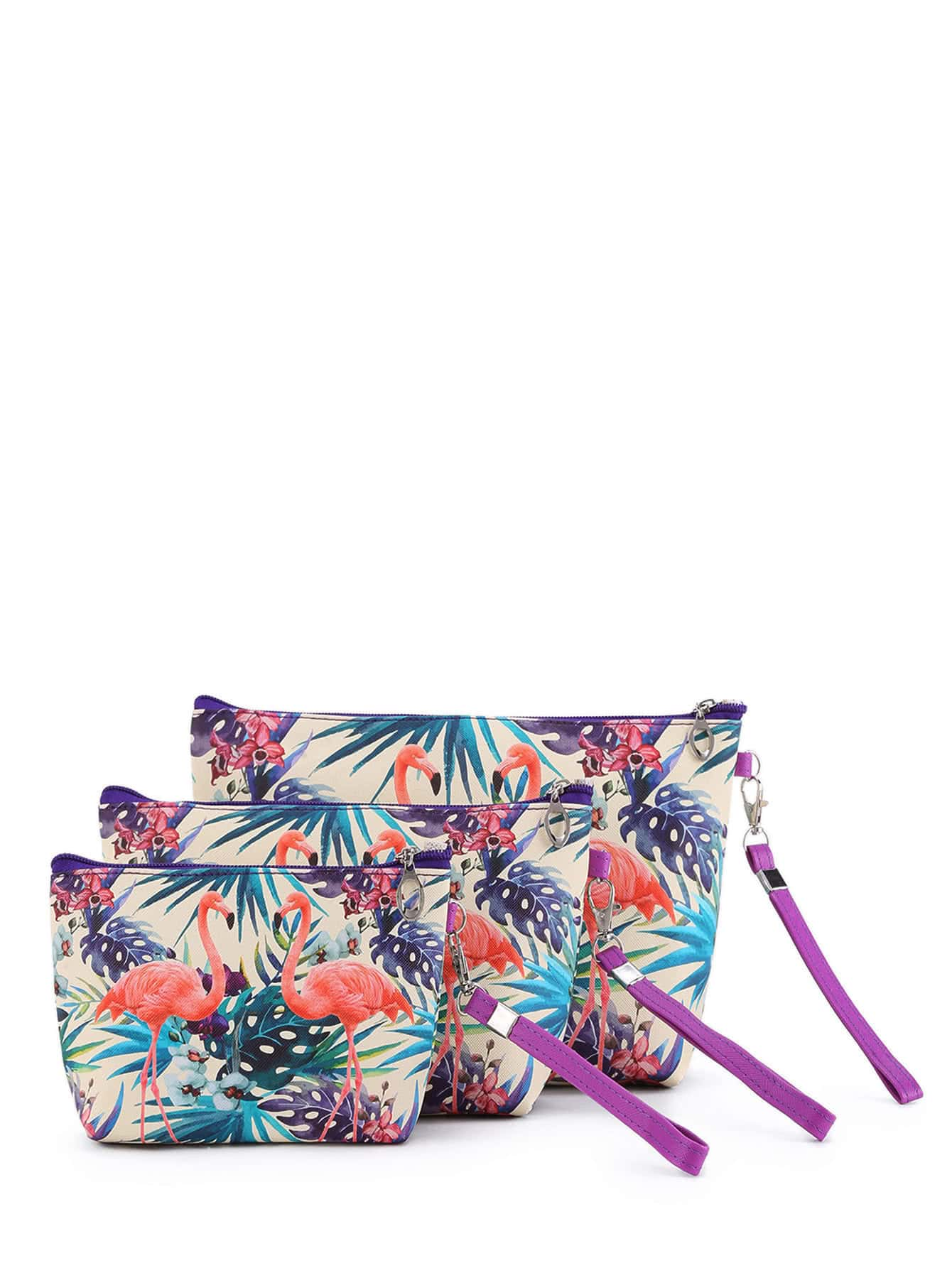 Flamingo Print Makeup Bag 3pcs