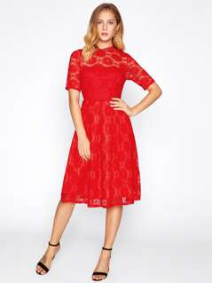 Lace Overlay Fit & Flare Dress
