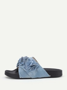 Flower Decorated Denim Slip On Sandals