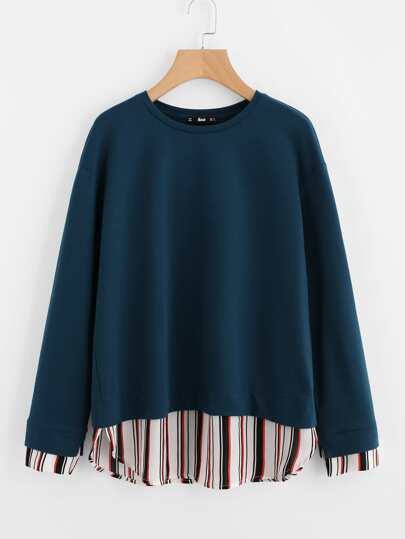 Striped Cuff And Hem 2 In 1 Sweatshirt