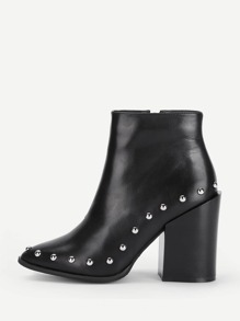 Studded Trim Block Heeled Ankle Boots