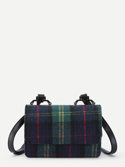 Gingham Print Flap Crossbody Bag