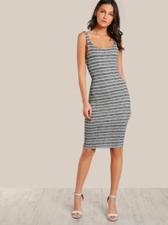 Striped Bodycon Sleeveless Dress BLACK WHITE