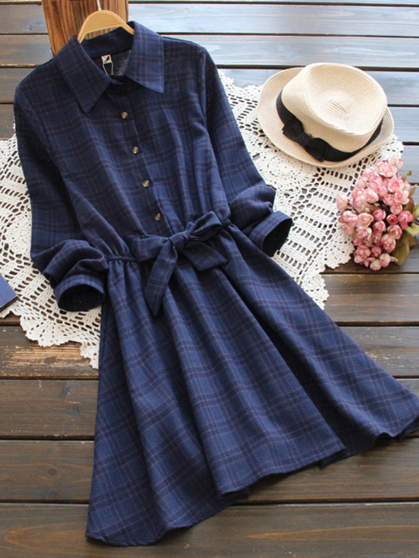 Bow Tie Elastic Waist Check Shirt Dress