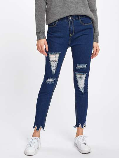 Distressed Raw Hem Denim Jeans