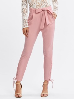 Grommet Lace UP Side Self Belted Pants