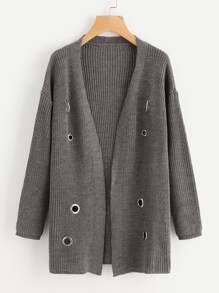 Grommet And O-Ring Detail Sweater Coat