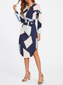 V Cut Dolphin Hem Belted Dress