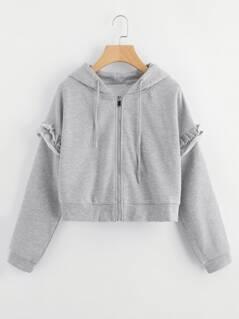 Frill Trim Drawstring Hooded Jacket