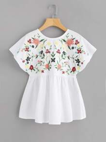 Botanical Embroidered Lace Up Back Dolman Top