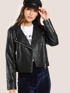 Faux Crinkle Leather Moto Jacket BLACK