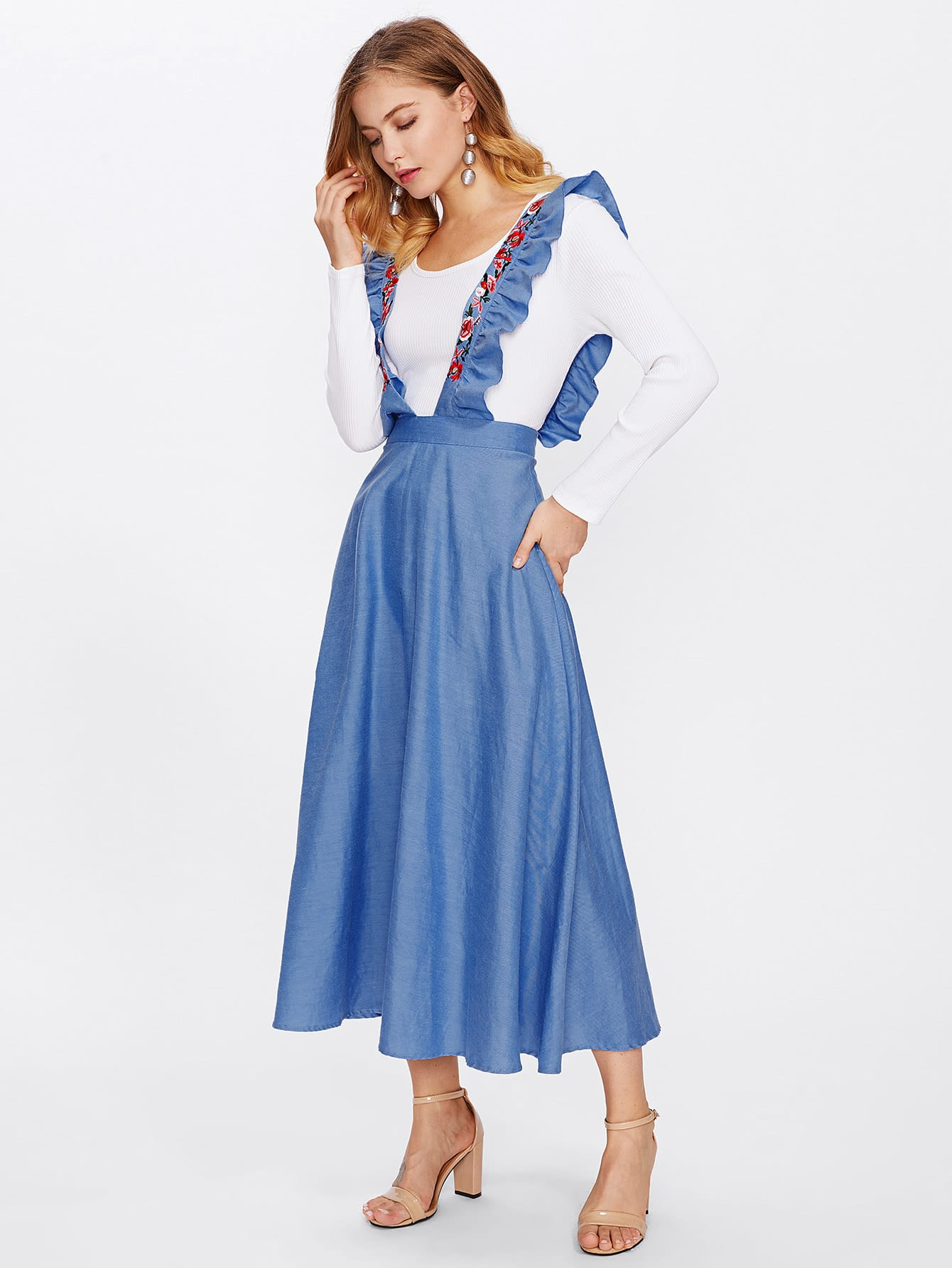 Chambray Skirt With Embroidered Ruffle Strap ruffle waist zip back scallop hem embroidered gingham skirt