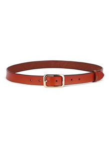 Faux Leather Square Buckle Belt