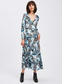 Paisley Print Velvet Surplice Wrap Dress