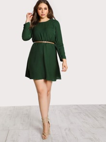 Shirred Sleeve Ruffle Flounce Dress GREEN