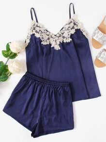 Embroidered Applique Detail Satin Cami & Shorts PJ Set