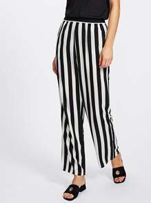 Striped Elastic Waist Pants