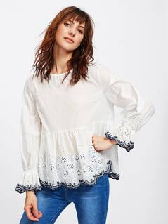 Bell Cuff Eyelet Embroidered Scalloped Top