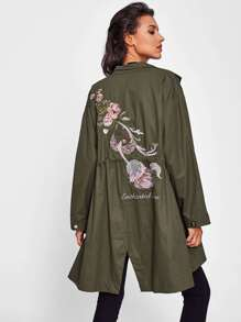 Rose Embroidered Army Green Coat