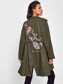 Manteau brodé dsec roses en vert foncé