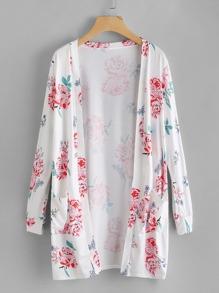 Kimono imprimé botanique avec double poches