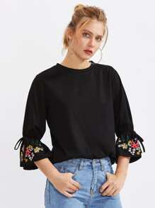 Bow Tied Botanical Embroidered Bell Cuff Tee