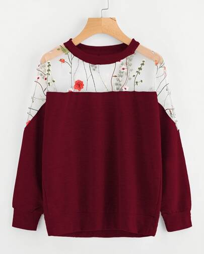 Embroidery Mesh Paneled Sweatshirt