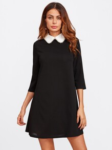 Faux Pearl Peter Pan Collar Dress