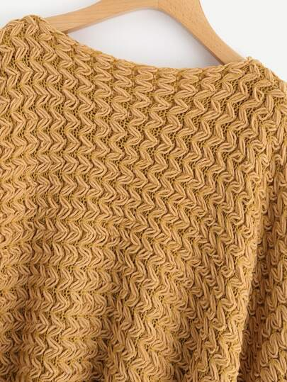 Batwing Textured Chunky Knit Sweater -SheIn(Sheinside)