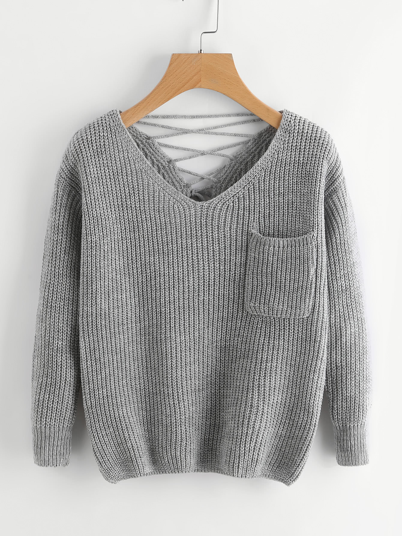 Double V Lace Up Back Chunky Knit Jumper sweater170906002