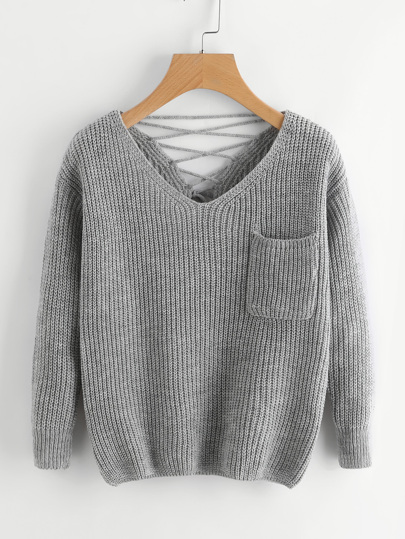 Double V Lace Up Back Chunky Knit Jumper